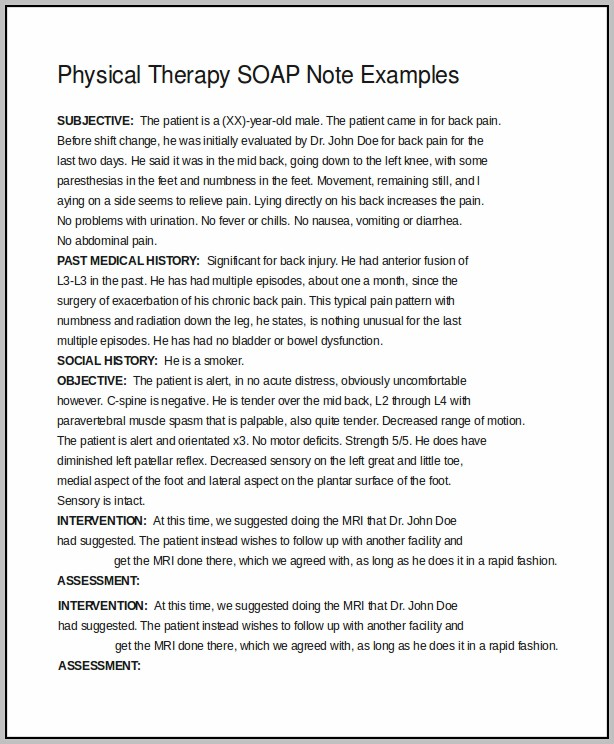 Soap Notes Physiotherapy Template