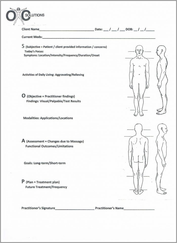 Soap Notes Template For Massage Therapists