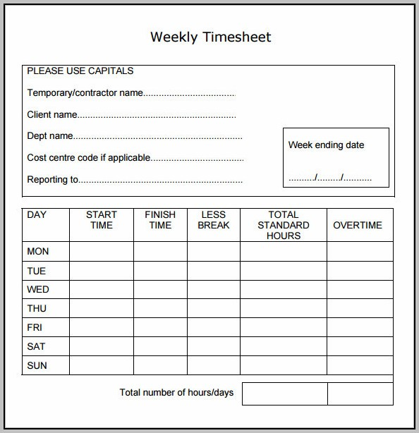 Staff Weekly Timesheet Template