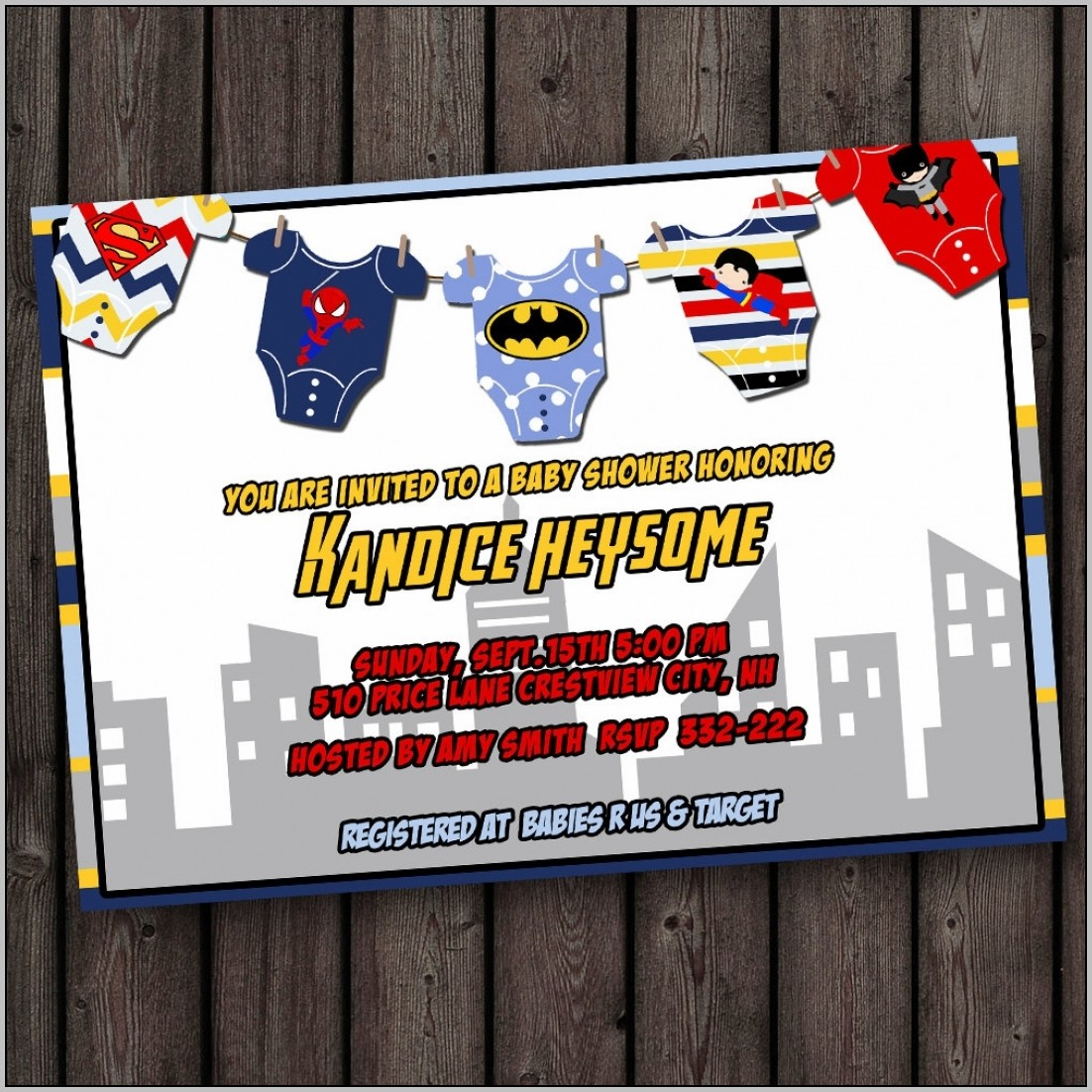 Superhero Baby Shower Invitation Templates