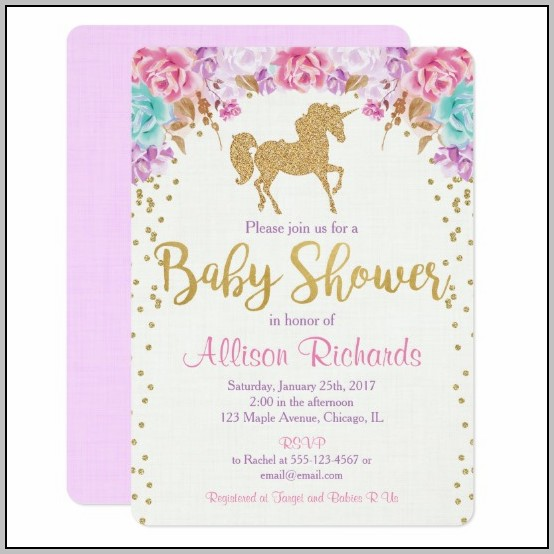 Unicorn Baby Shower Invite Template