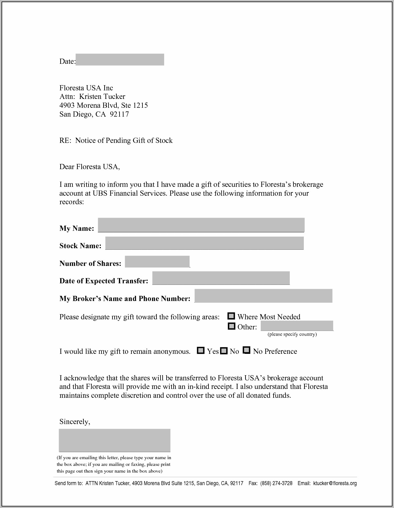 Vehicle Donation Letter Template