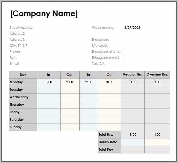 Weekly Timesheet Template For Excel