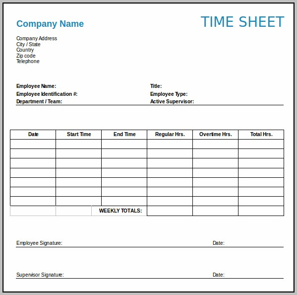 Weekly Timesheet Template Uk