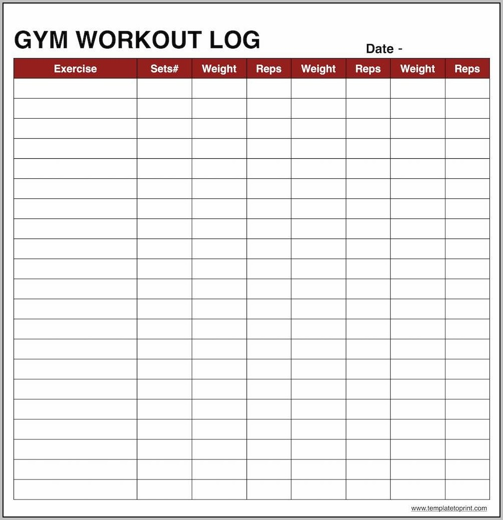 Workout Log Spreadsheet Template