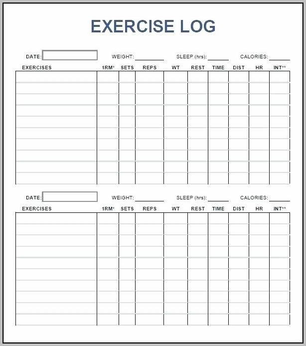 Workout Log Template Free