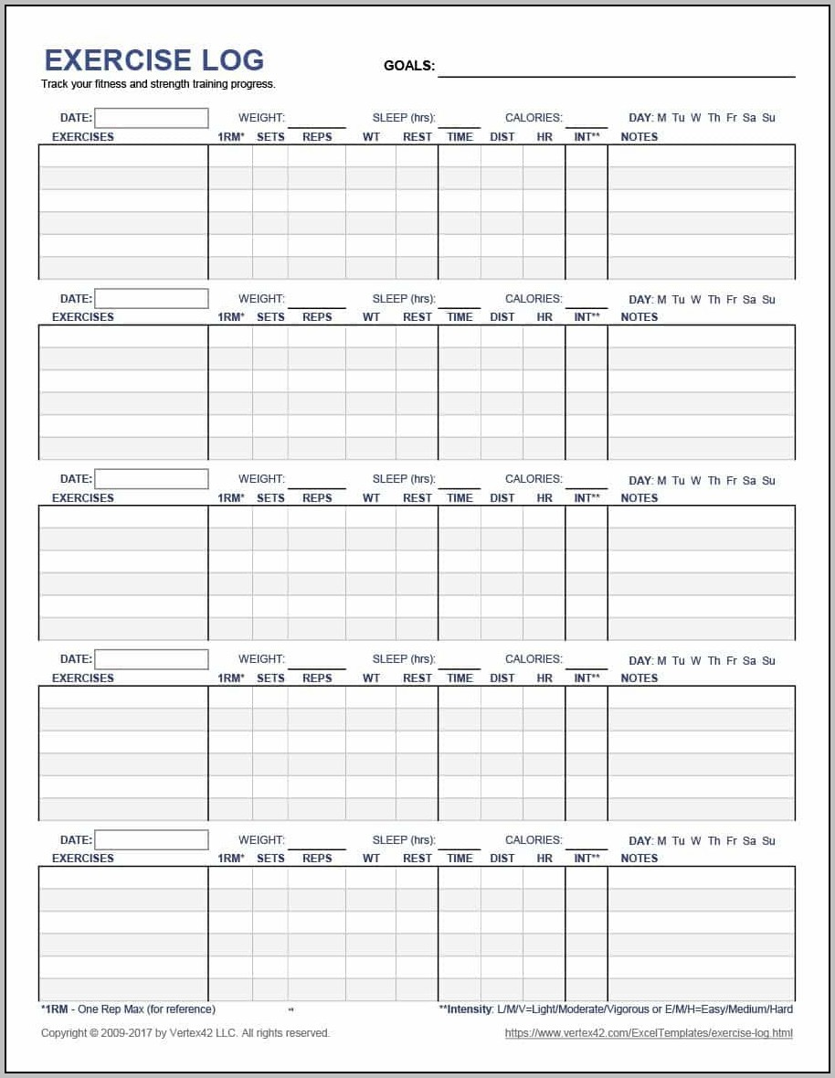 Workout Log Template Mac