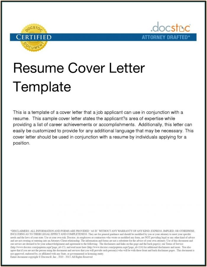 Resume Cover Letter Email Template