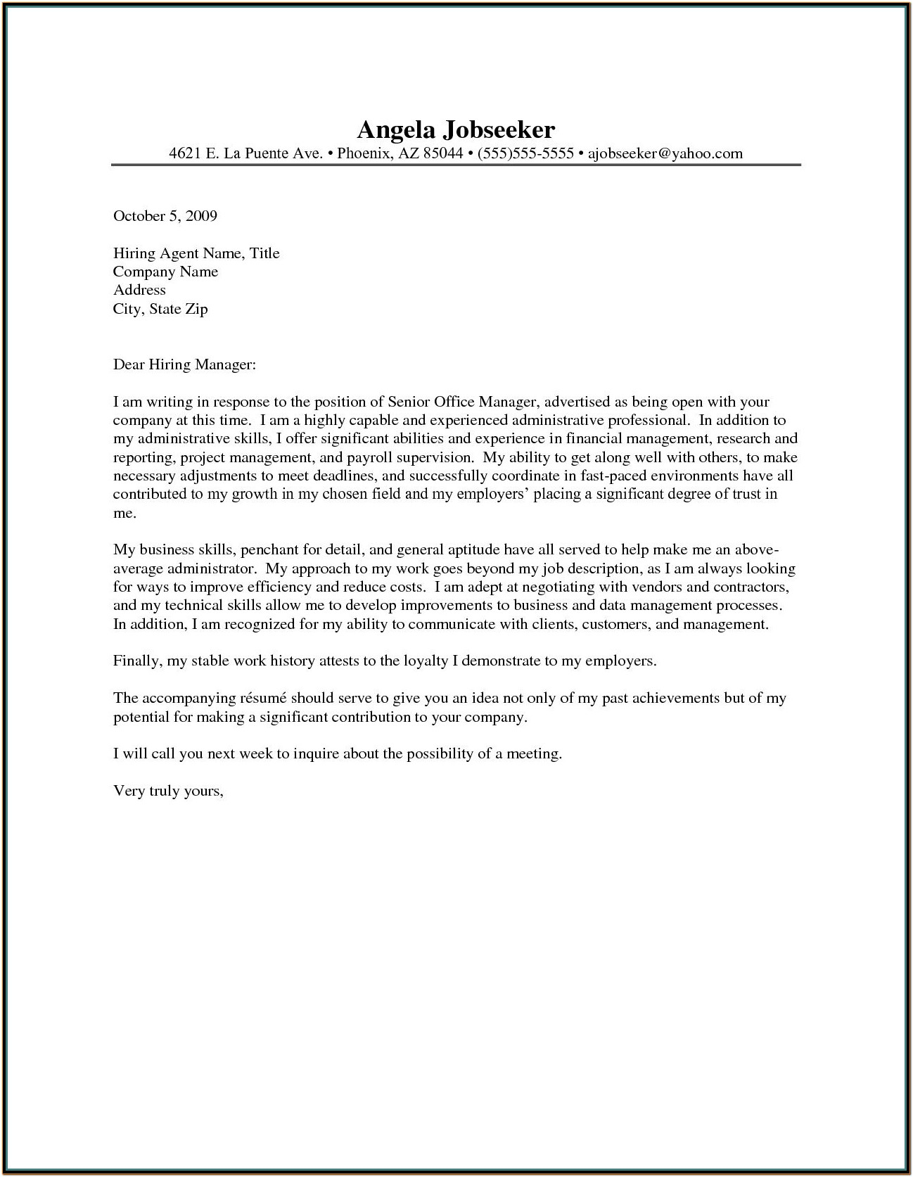 Resume Cover Letter Example Administrative Position