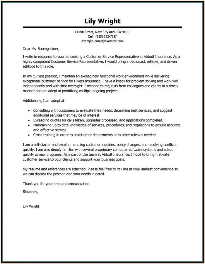 Resume Cover Letter Example Customer Service