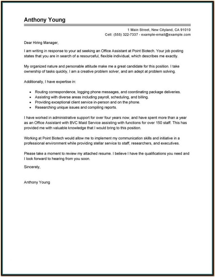 Resume Cover Letter Example For Office Assistant