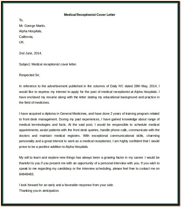 Resume Cover Letter Example For Receptionist