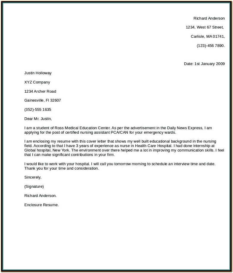 Resume Cover Letter Template Australia