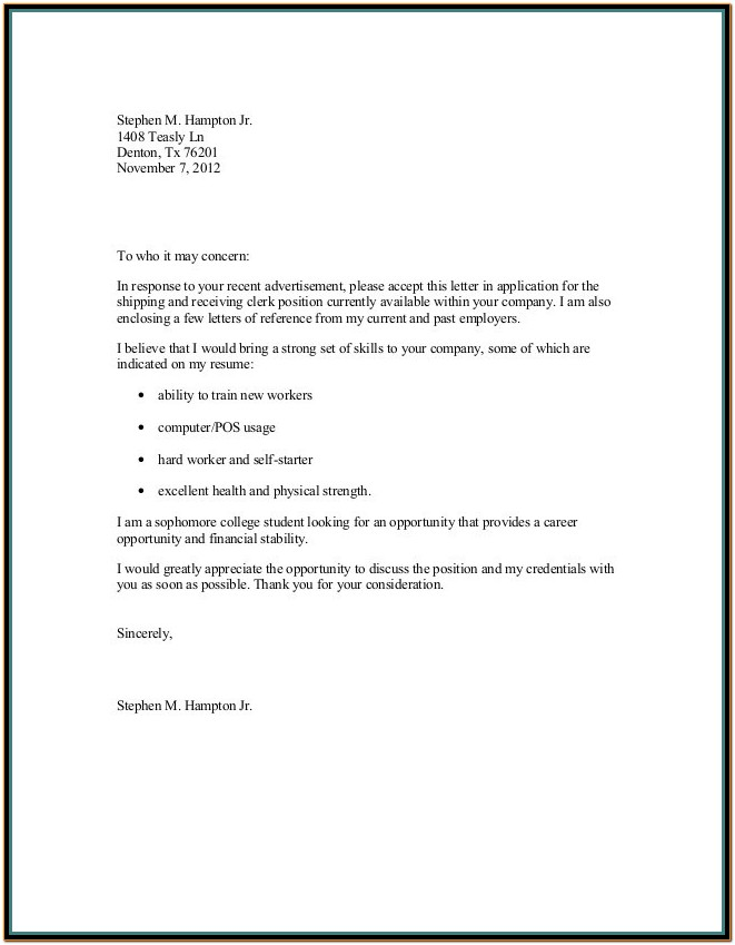 Resume Cover Letter Template Doc
