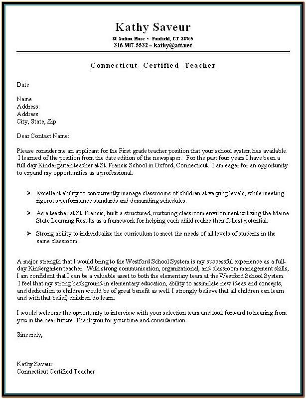 Resume Cover Letter Template For Teachers