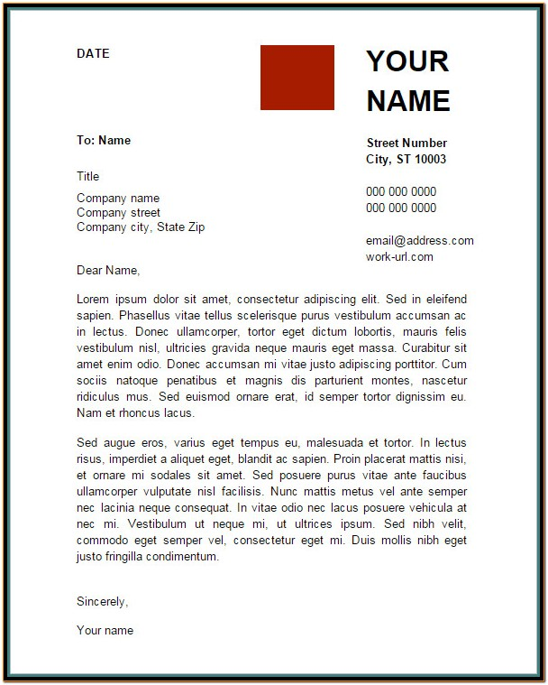 Resume Cover Letter Template Google Docs