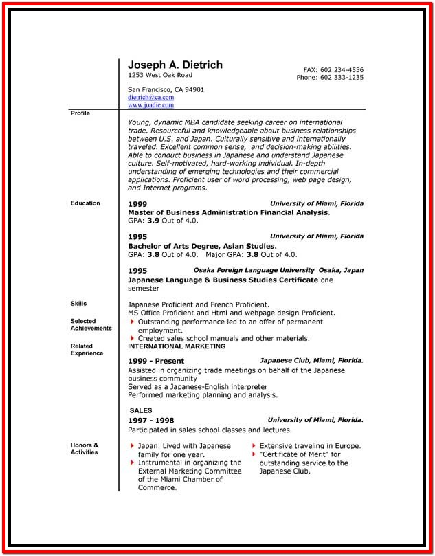 Download A Resume Template For Microsoft Word