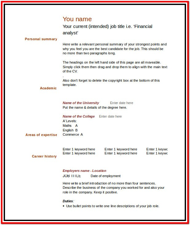 Fill In The Blank Resume Templates For Microsoft Word