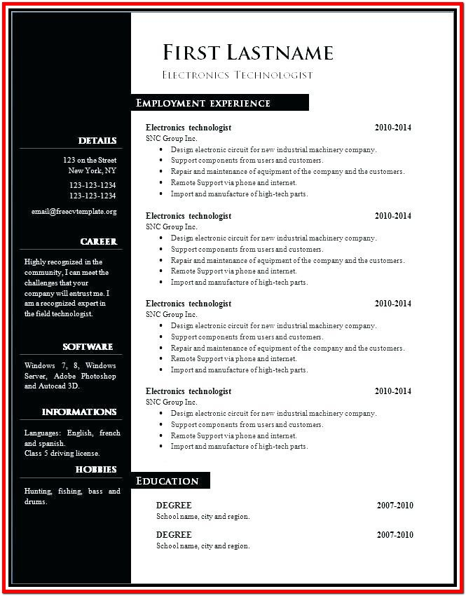 Resume Samples For Free Download
