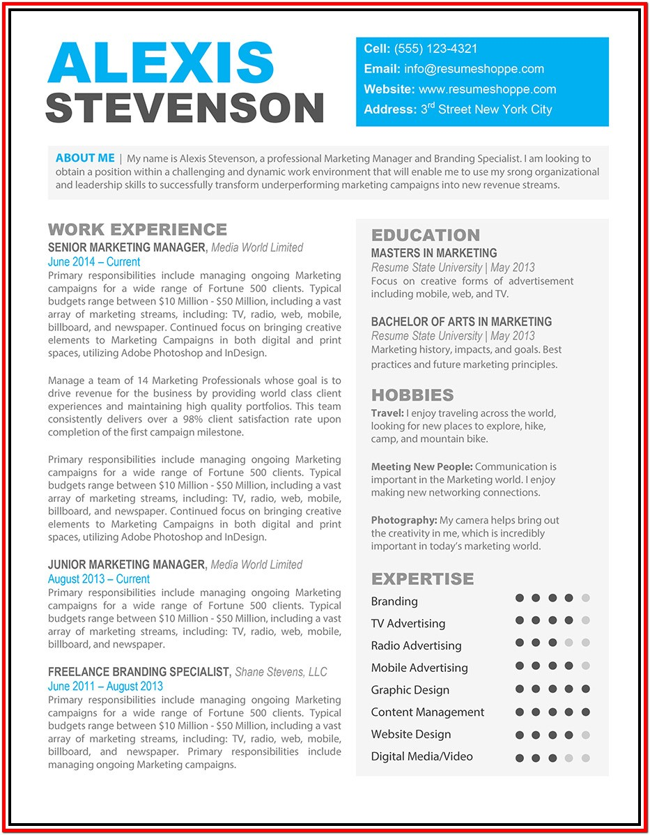 Resume Templates For Microsoft Word Free