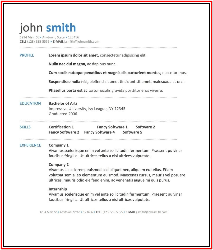 Resume Templates Microsoft Word Mac