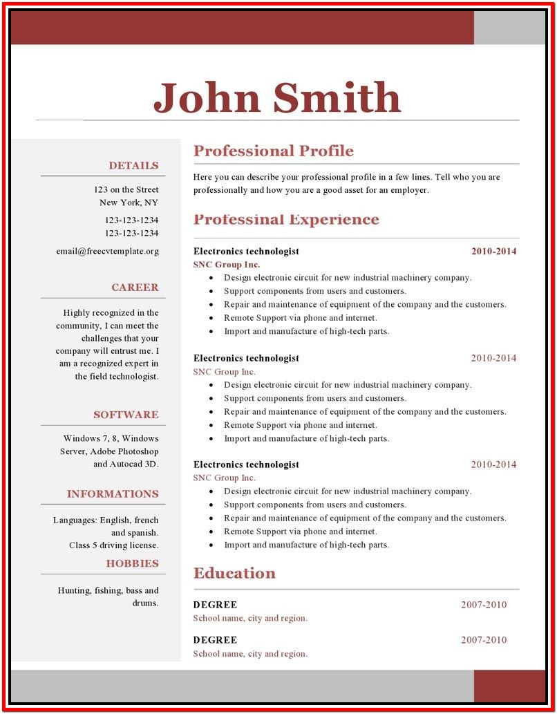 Science Resume Templates For Microsoft Word