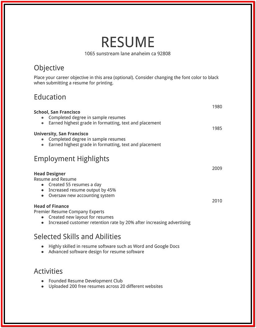 Simple Resume Outline Free