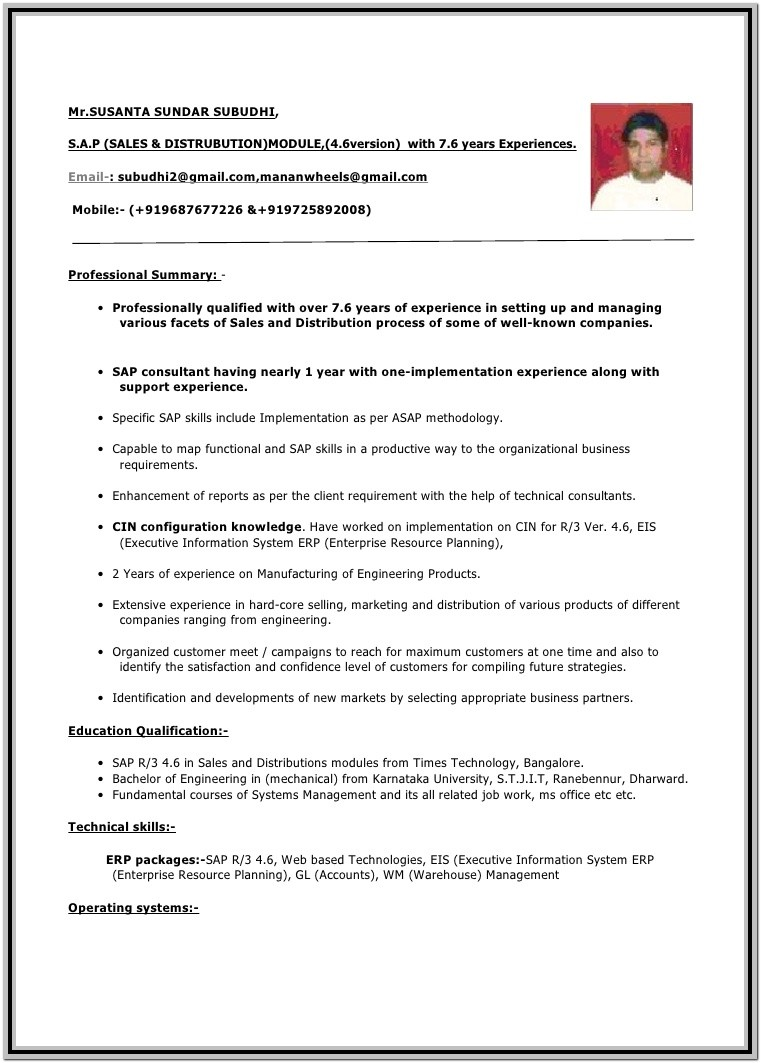 1 Year Experience Resume Format Free Download