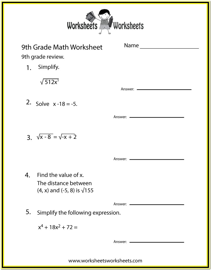 9th Grade Math Worksheets Printable Algebra
