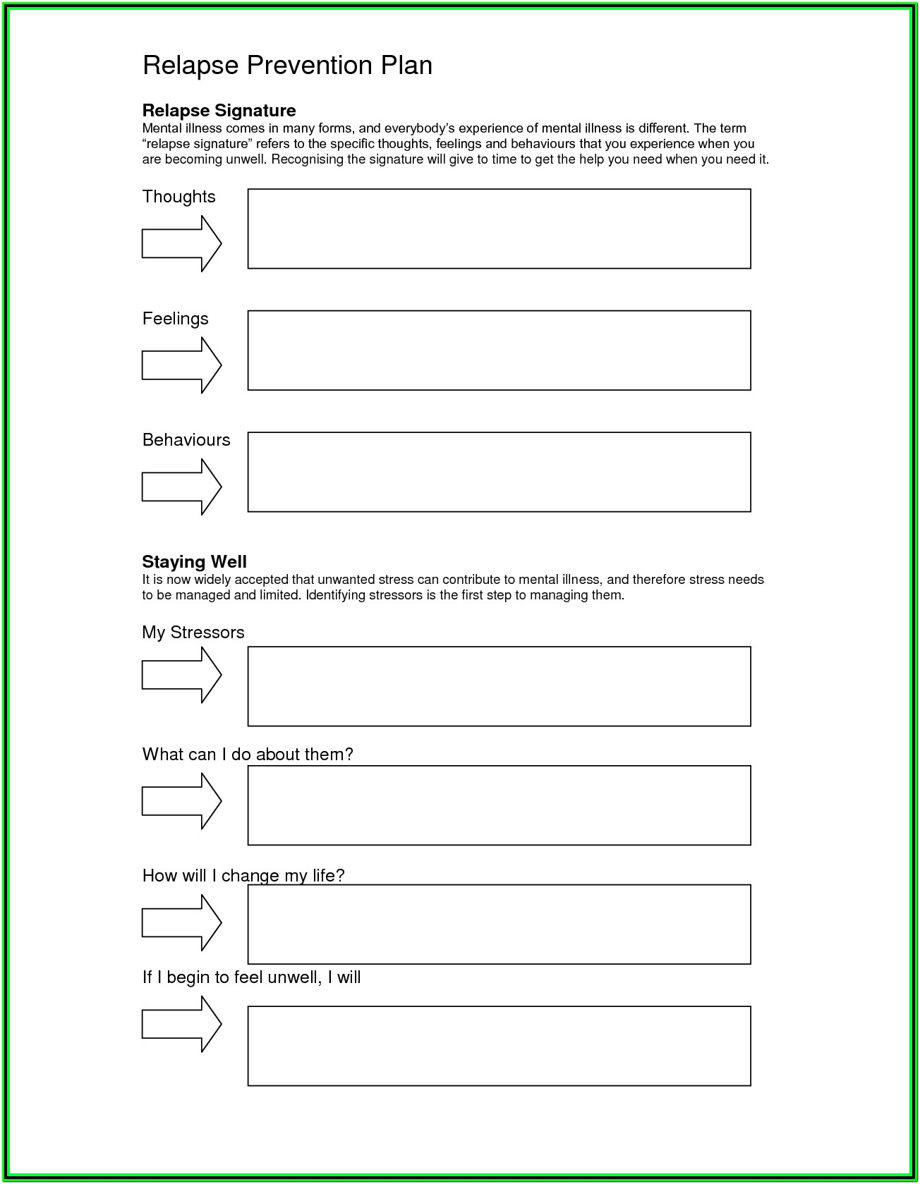 Addiction Recovery Worksheets Pdf