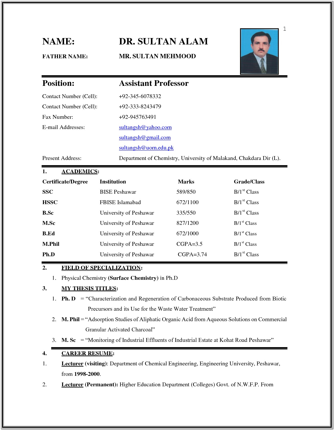 Biodata Resume Format Free Download