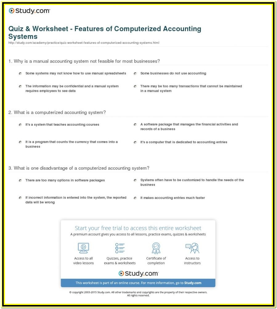 Bookkeeping Practice Worksheets