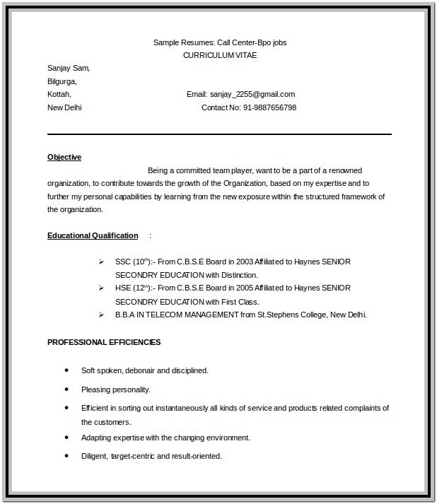 Bpo Resume Format Free Download