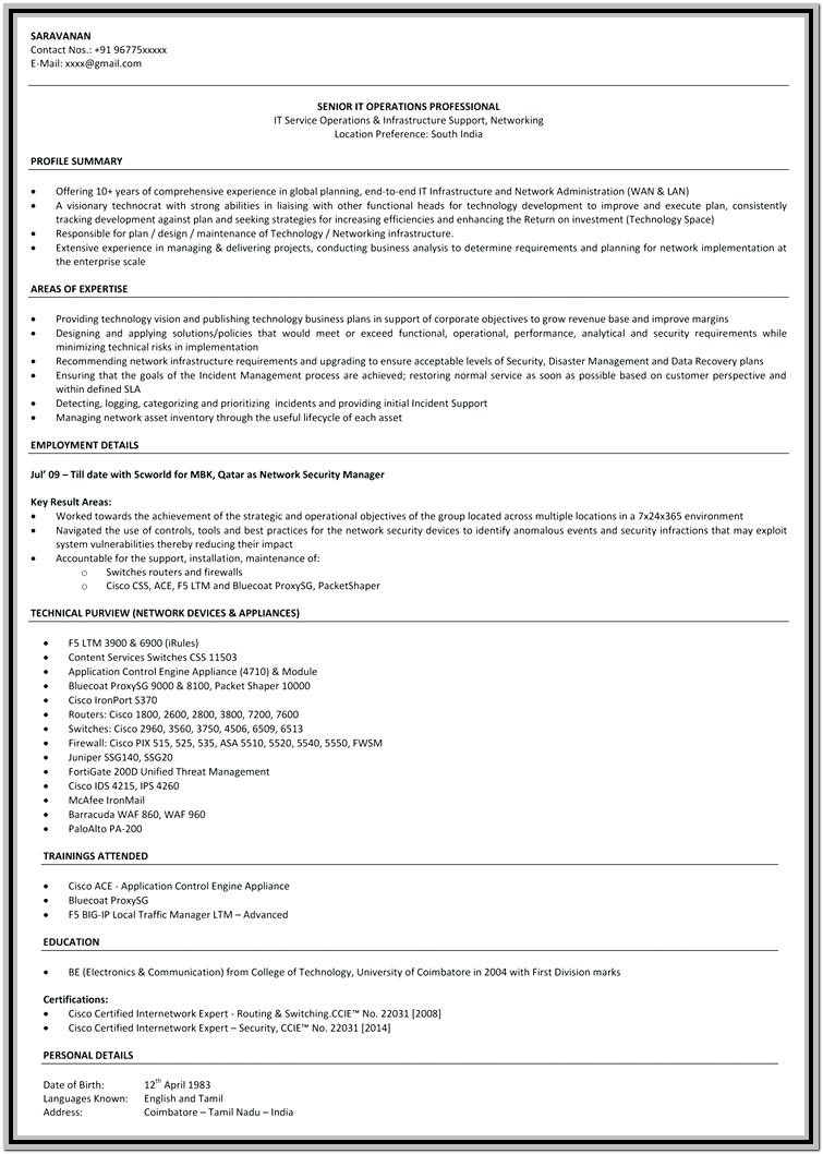 Ccna Fresher Resume Format Free Download