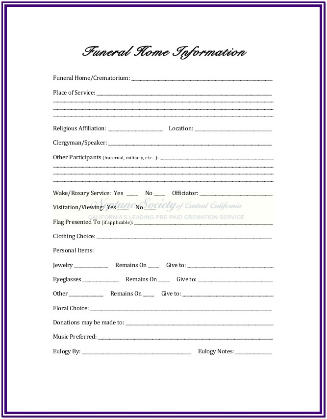 Church Funeral Planning Worksheet