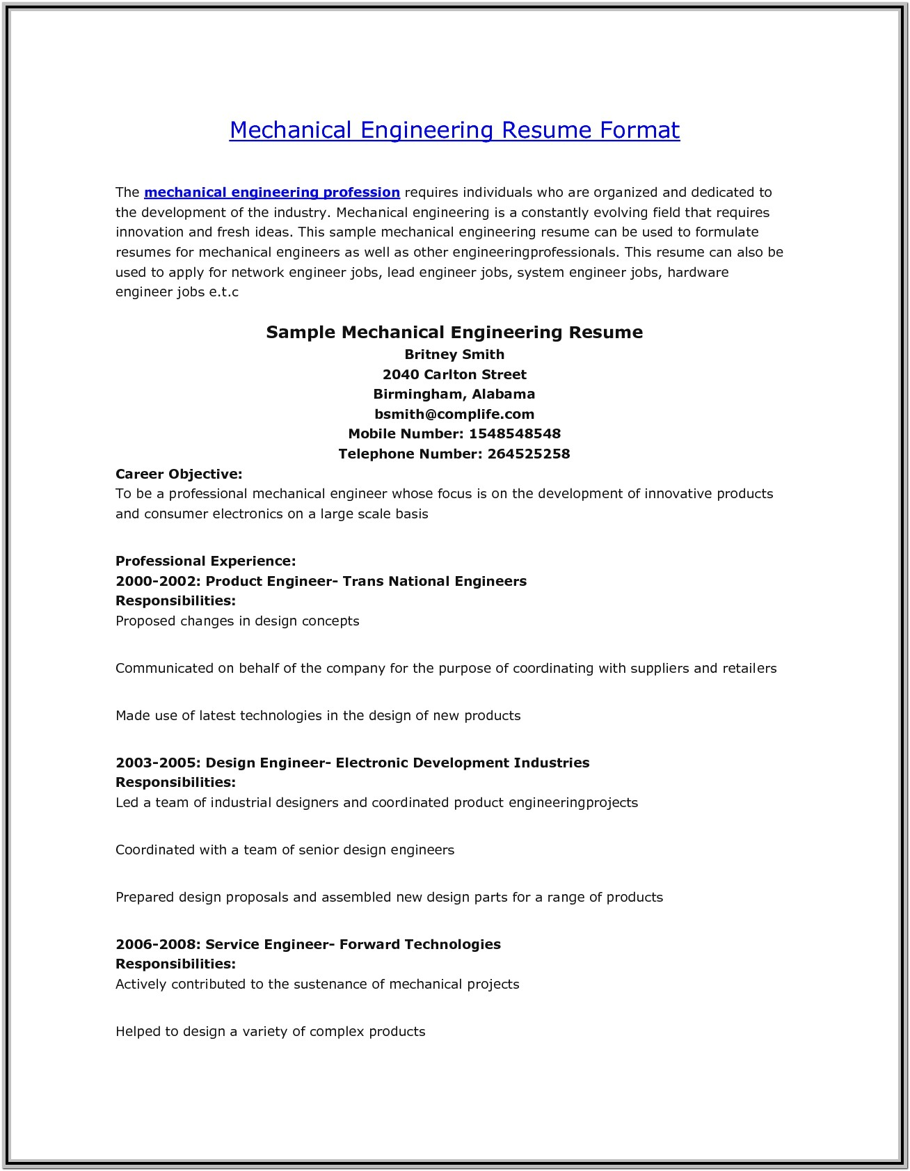 Diploma Resume Format Free Download