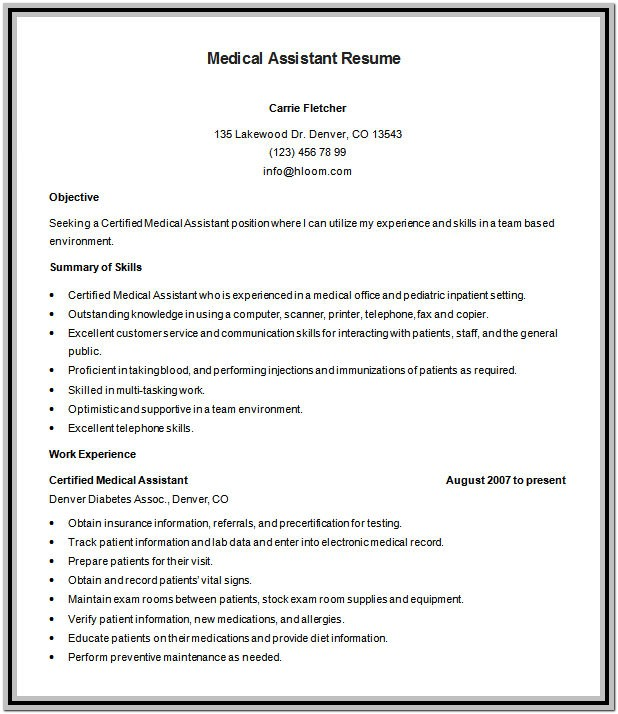 Medical Assistant Resume Template Download