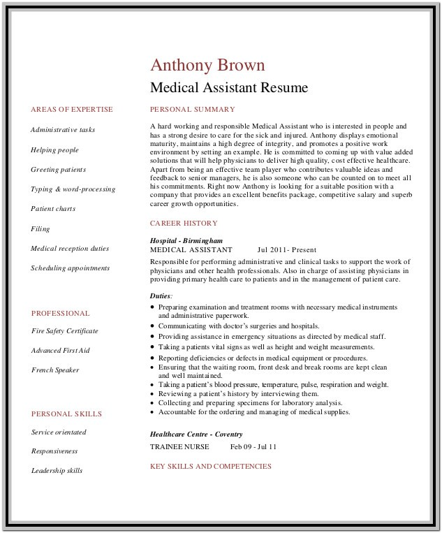 Medical Assistant Resume Templates Downloads
