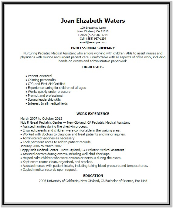 Professional Medical Assistant Resume Template