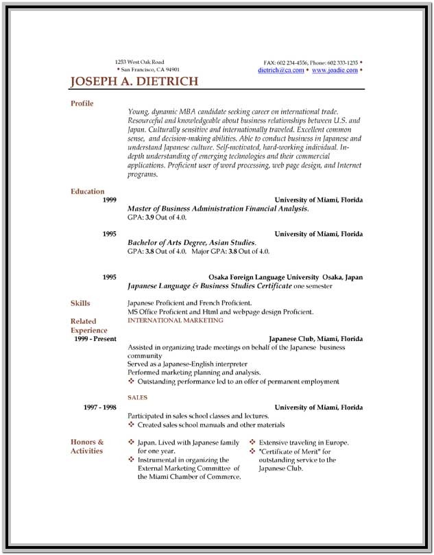 Resume Format Free Download For Job