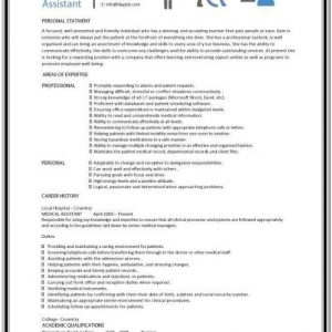 Resume Template For Medical Assistant