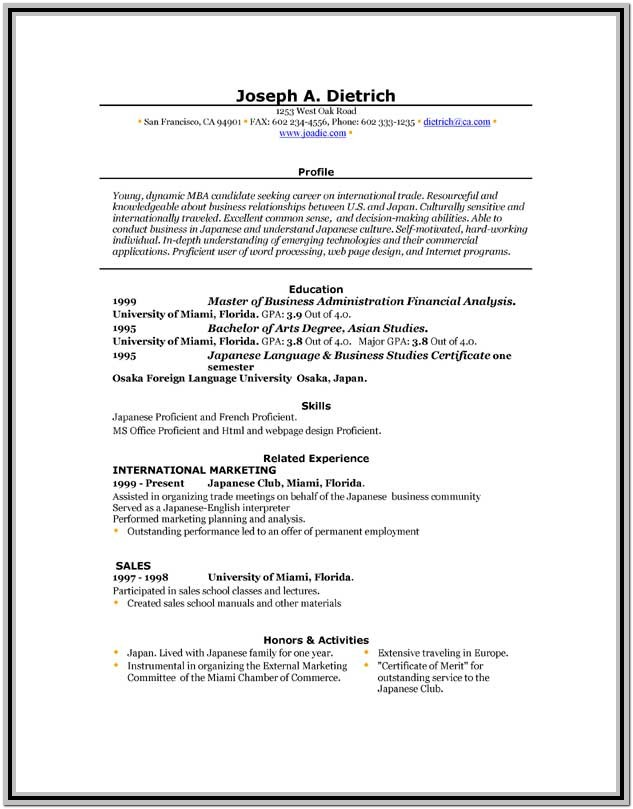 Resume Templates Word Format Free Download