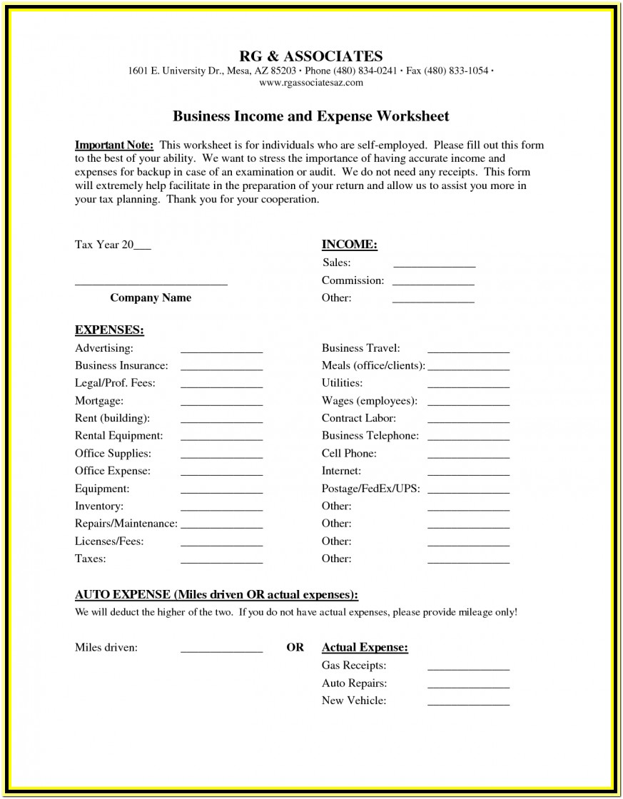 Small Business Income And Expense Worksheet