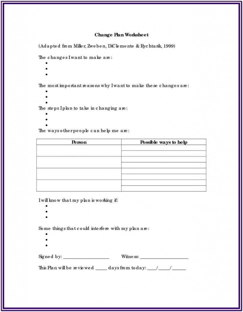 Substance Abuse Coping Skills Worksheets