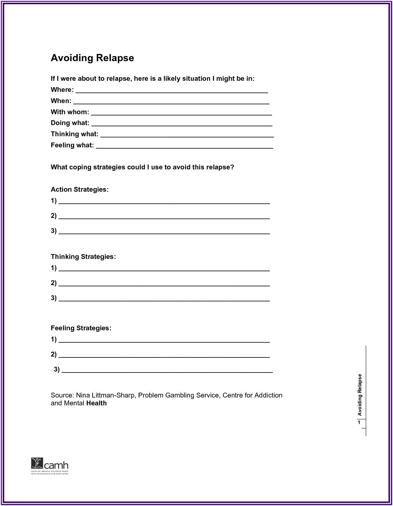 Substance Abuse Treatment Worksheets