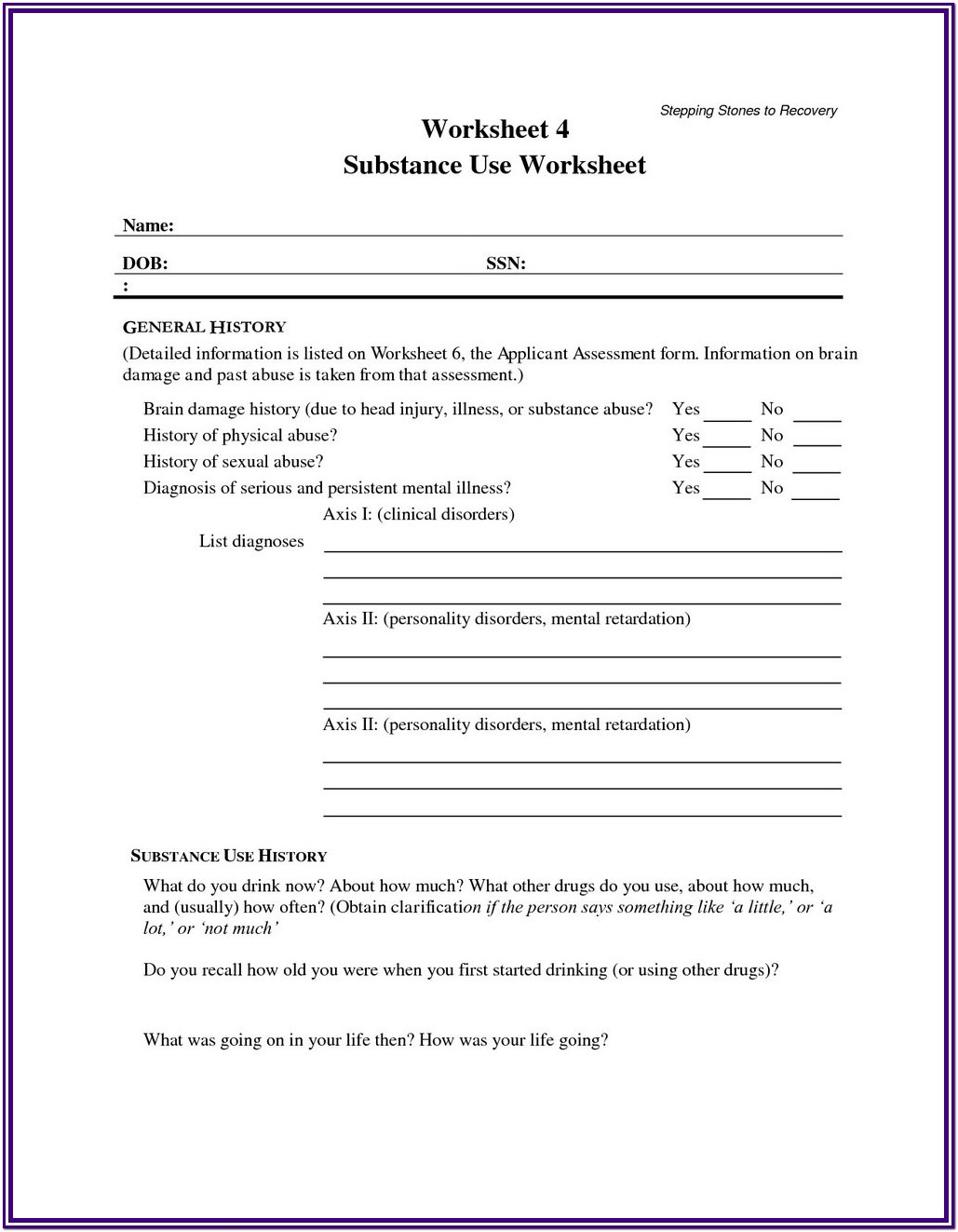 Substance Abuse Worksheets For Youth