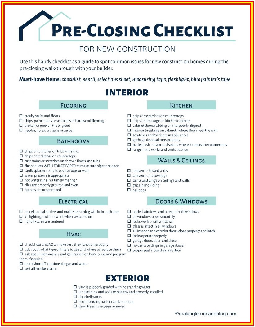 Home Inspection Checklist For New Construction