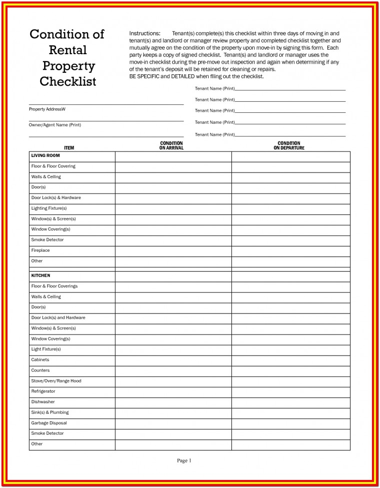 Home Inspection Checklist For Renters