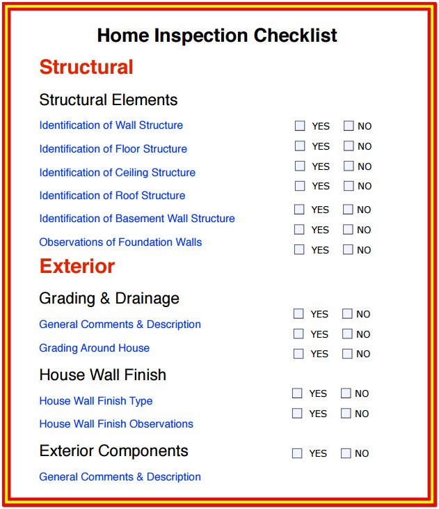 Home Inspection Checklist Free Download