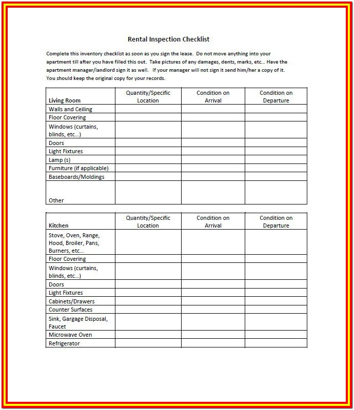 Home Inspection Checklist Sample